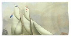 A Schooner Of The Royal Western Yacht Club And A Norwegian Ship In A Storm Bath Towel