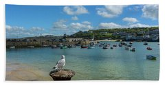 A Seagull Dreaming At The Harbour Bath Towel