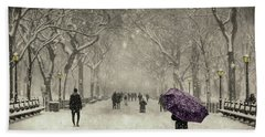 A Walk In The Snow In The Park New York Hand Towel