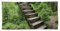 Abandoned Rest Of The Concrete Staircase In The Woods Bath Towel