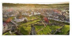 Aberystwyth Castle From The Air At Dawn Hand Towel