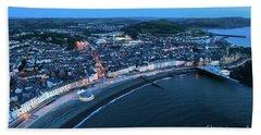 Aberystwyth From The Air At Night Bath Towel