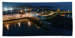 Aberystwyth Wales At Night From The Air Bath Towel