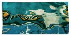 Bath Towel featuring the photograph Abstract Boat Reflection V Color by David Gordon