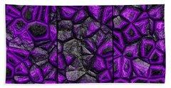 Abstract Deep Purple Stone Triptych Bath Towel