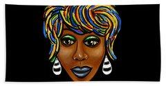 Abstract Art Black Woman Retro Pop Art Painting- Ai P. Nilson Bath Towel