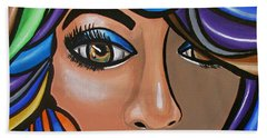 Abstract Woman Artwork Abstract Female Painting Colorful Hair Salon Art - Ai P. Nilson Bath Towel