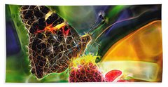 Abstract Painted Lady Butterfly Bath Towel