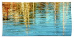 Abstract Reflections In Camden Harbor Maine Bath Towel