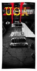 Abstract Relic Guitar Usa Flag Hand Towel