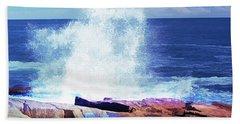 Crashing Waves At Schoodic Point Abstract Bath Towel