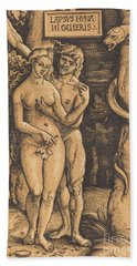 Adam And Eve, 1511 Woodcut Hand Towel