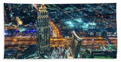 Aerial View Of Dubai At Night Bath Towel