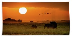 African Elephants Walking At Golden Sunrise Hand Towel