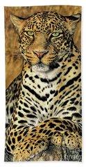 African Leopard Portrait Wildlife Rescue Hand Towel
