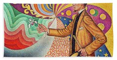 Against The Enamel Of A Background Rhythmic With Beats And Angles, Tones, And Tints Hand Towel