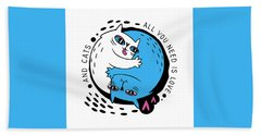 All You Need Is Love And Cats - Baby Room Nursery Art Poster Print Hand Towel