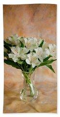 Alstroemeria Bouquet On Canvas Bath Towel