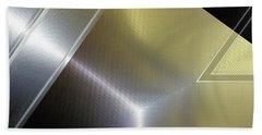 Aluminum Surface. Metallic Geometric Image.   Bath Towel