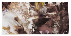 Always On My Mind - Brown Contemporary Abstract Painting Bath Towel