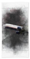 American Airlines Boeing 767-200 Painting Bath Towel