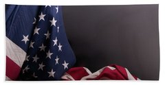 American Flag Draped On Itself Bath Towel