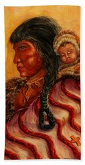 American Indian Mother And Child Hand Towel