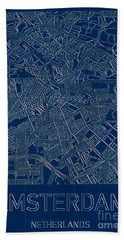 Amsterdam Blueprint City Map Hand Towel