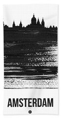 Amsterdam Skyline Brush Stroke Black Hand Towel