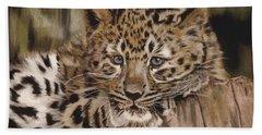 Amur Leopard Cub Hand Towel