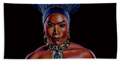 Angela Bassett As Queen Ramonda Painting Hand Towel