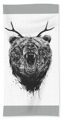 Angry Bear With Antlers Bath Towel