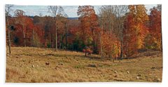 Hand Towel featuring the photograph Animals Grazing On A Fall Day by Angela Murdock
