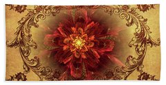 Antique Foral Filigree In Crimson And Gold Bath Towel