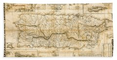 Antique Topographical Map Of Puerto Rico 1863 While Under Spanish Rule. Bath Towel
