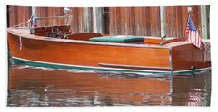 Antique Wooden Boat By Dock 1302 Hand Towel