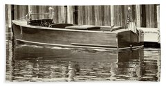 Antique Wooden Boat By Dock Sepia Tone 1302tn Bath Towel