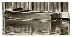 Antique Wooden Boat By Dock Sepia Tone 1302tn Hand Towel