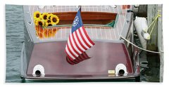 Antique Wooden Boat With Flag And Flowers 1304 Hand Towel