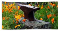 Anvil In The Poppies Hand Towel