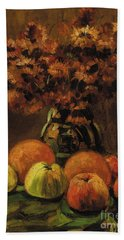 Apples, Oranges And A Vase Of Flowers On A Table  Bath Towel
