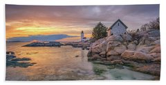 April Sunset At Annisquam Harbor Lighthouse Hand Towel