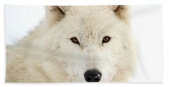 Arctic Wolf Close Up Hand Towel