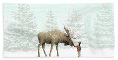 Winter Moose Hand Towel