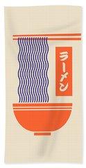 Ramen Japanese Food Noodle Bowl Chopsticks - Cream Hand Towel
