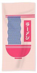 Ramen Japanese Food Noodle Bowl Chopsticks - Salmon Hand Towel
