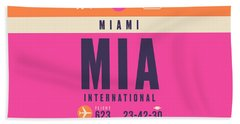 Retro Airline Luggage Tag - Mia Miami Bath Towel