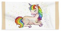 Sleeping Baby Rainbow Unicorn Hand Towel
