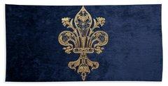Gold Filigree Fleur-de-lis Over Blue Velvet Bath Towel