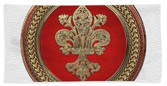 Gold Filigree Fleur-de-lis On Gold And Red Medallion Over White Leather Bath Towel